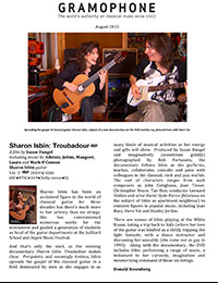 Sharon Isbin: Troubadour, Gramaphone, August 2015